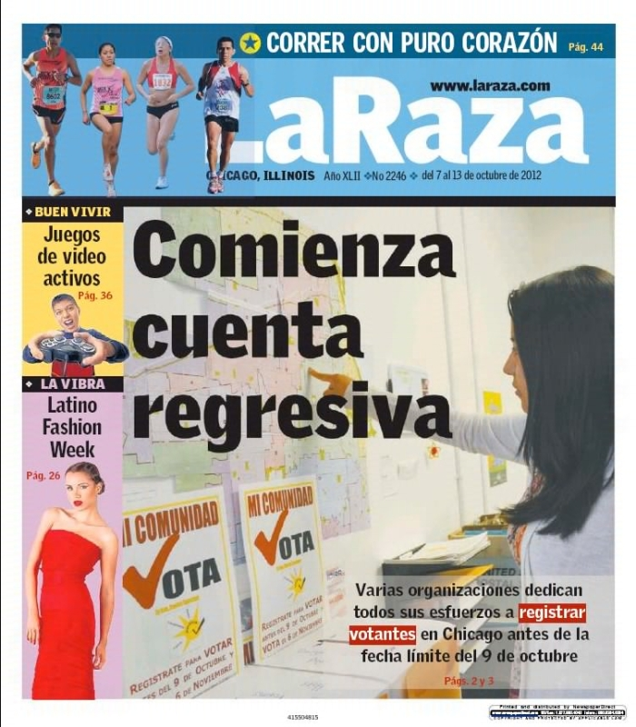 Noelia Cruz's design featured in the cover of La Raza Newspaper, Chicago